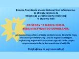 Ważny komunikat dla wszystkich korzystających z obiektów należących do Miejskiego Ośrodka Sportu i Rekreacji w Stalowej Woli